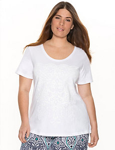 Textured graphic sleep tee by LANE BRYANT