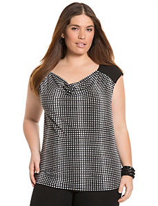 Draped cap-sleeve top by LANE BRYANT