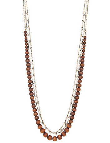 3-row wooden bead necklace by Lane Bryant