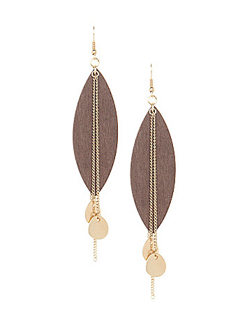Wooden leaf earrings by Lane Bryant