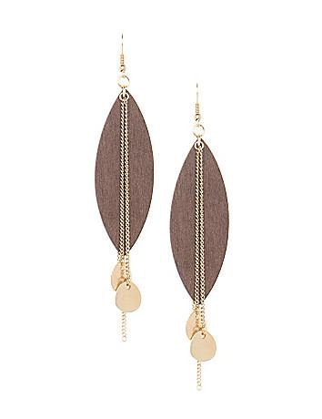 Wooden leaf earrings by Lane Bryant