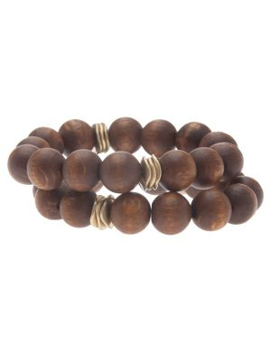 Wooden bead 2-row bracelet by Lane Bryant