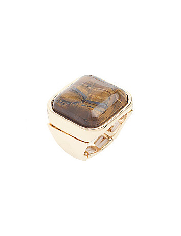 Square Tiger Eye Ring by Lane Bryant