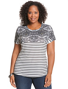 Striped & lace print tee by Seven7