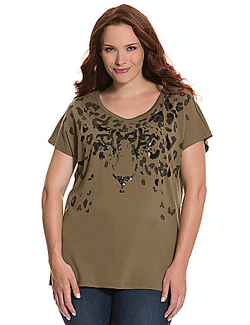 Sequin animal tee by Seven7