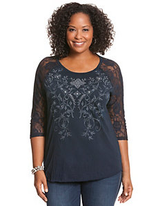 Lace sleeve crinkle top by Seven7
