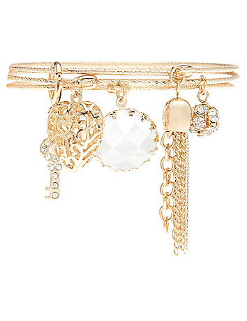 Heart & key charm bracelet trio by Lane Bryant