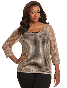 Metallic open stitch sweater