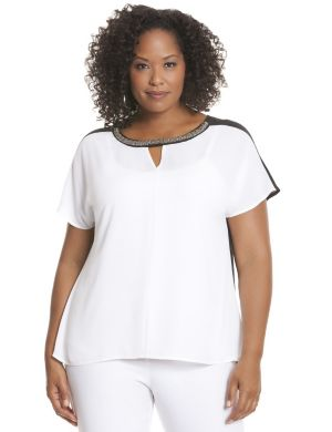 Embellished colorblock blouse