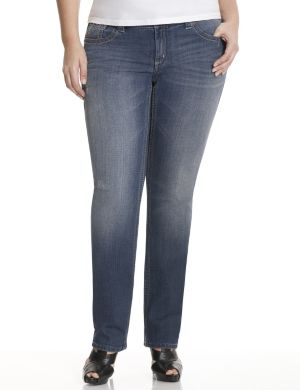 Distressed straight leg jean by Seven7