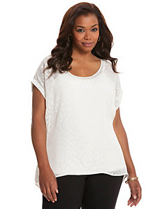 Leopard split back woven tee by LANE BRYANT