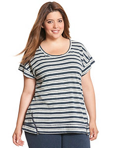 Zip detail striped top