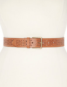 Pattern embossed leather belt