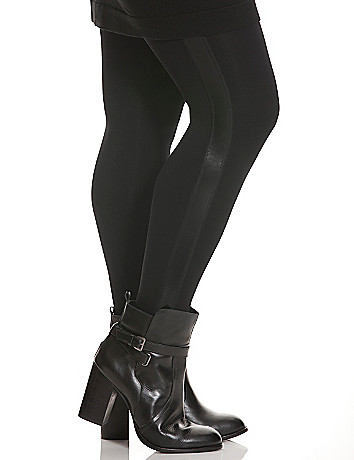Faux leather side striped legging