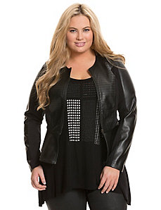 Faux leather & ponte peplum jacket