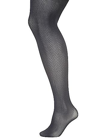 Two-tone herringbone tights