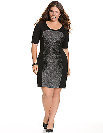 Lace panel sheath dress by Lane Bryant