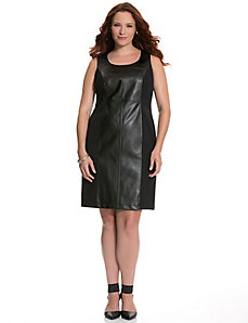 Faux leather & ponte sheath dress