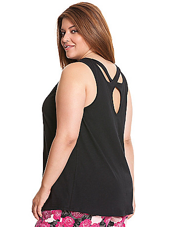 Cross-back slub sleep tank