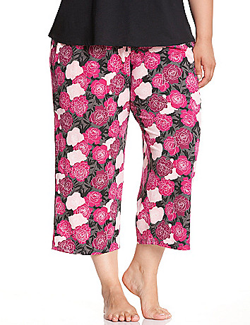 Rose print cropped sleep pant