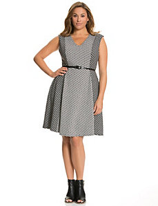 Mixed jacquard skater dress