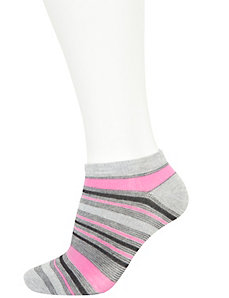 Pink striped low cut socks 3-pack