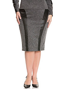 Tweed & faux leather pencil skirt