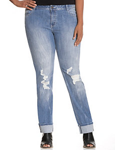 Straight fit distressed straight leg jean