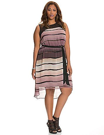 Envelope back striped dress