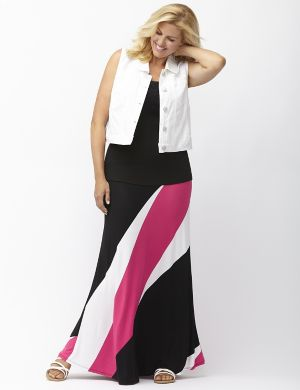 Diagonal stripe maxi skirt