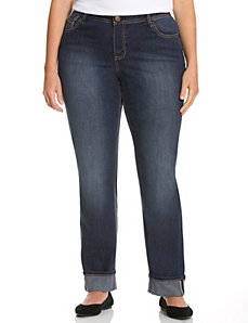 Cuffed straight leg jean