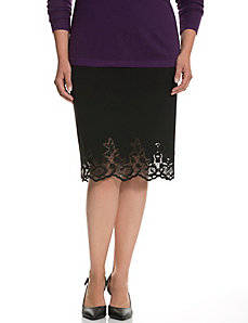 Lace hem Tailored Stretch skirt