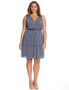 Houndstooth surplice dress