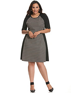 Stripe block skater dress