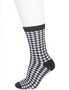 Houndstooth & solid crew socks 2-pack