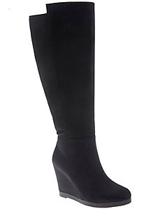 Faux suede wedge boot