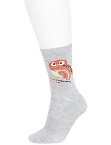 Owl & solid crew socks 2-pack