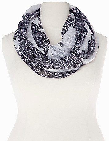 Lace print infinity scarf
