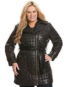 Moto puffer coat