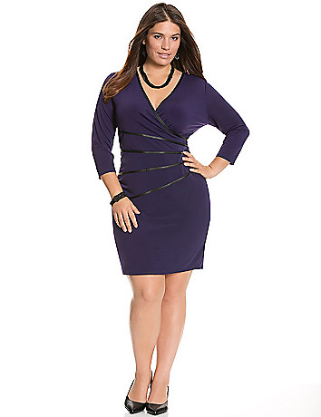 Wrap dress with faux leather trim