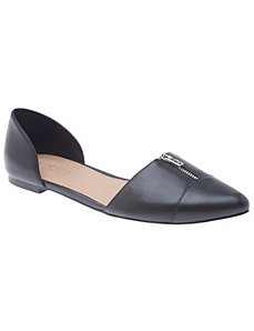 Antonia zipped leather flat