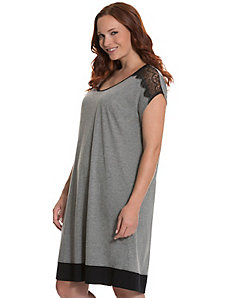 Lace shoulder sleep shirt