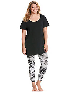 Tunic & printed legging PJ set by Cacique