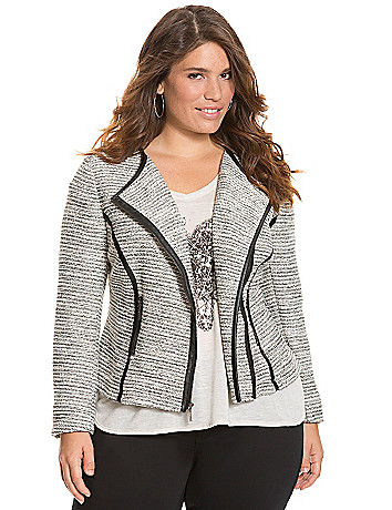 Boucle moto jacket with faux leather