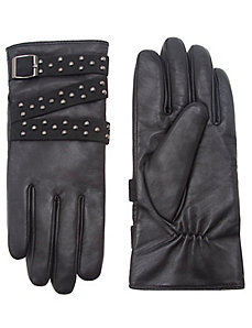 Leather glove with studded strap