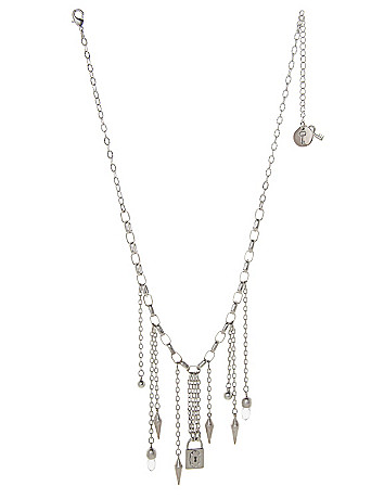 Spike & chain charm necklace by Lane Bryant