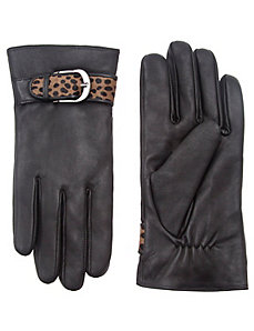 Leather glove with animal print strap