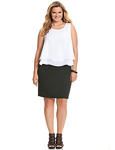 Layered colorblock sheath dress