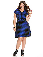 Jacquard houndstooth skater dress