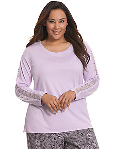 Lace sleeve sleep top